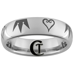 6mm Dome Tungsten Carbide Kingdom Hearts & Crown Design Ring.