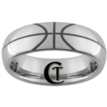 6mm Dome Tungsten Carbide Basketball Design Ring.