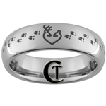 6mm Dome Tungsten Carbide Deer Heart & Tracks Hunting Design Ring.