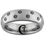6mm Dome Tungsten Carbide Paw Print Design Ring.