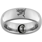 6mm Dome Tungsten Carbide Dishonored Symbol Design Ring.