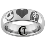 6mm Dome Tungsten Carbide Jack and Sally and Quote- Simply Meant To Be Design Ring.