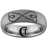 6mm Diamond Matte Dome Tungsten Carbide Infinity Heart Custom Names Design Ring.