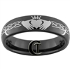 6mm Black Dome Tungsten Carbide Claddagh Celtic Knots Design Ring.