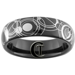 6mm Dome Black Tungsten Carbide Doctor Who Gallifreyan Design Ring.