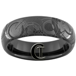 6mm Black Dome Tungsten Carbide Doctor Who Gallifreyan Design Ring.