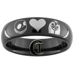 6mm Black Dome Tungsten Carbide Nightmare Before Christmas Jack and Sally Design Ring.