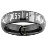 6mm Dome Black Tungsten Carbide Doctor Who Tardis  & Gallifreyan- Impossible Girl Design Ring.