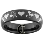 6mm Black Dome Tungsten Carbide Mickey Mouse Heart Minnie Mouse Design Ring.