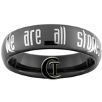 6mm Dome Black Tungsten Carbide  Doctor Who We are all stories in the end Design Ring.