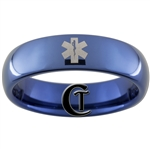 6mm Blue Dome Tungsten Carbide Medical Alert Star of LIfe Design Ring.
