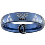 6mm Blue Dome Tungsten Carbide Legend of Zelda Triforce and Hyrule Crests Design Ring.