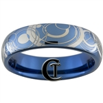 6mm Dome Blue Tungsten Carbide Doctor Who Gallifreyan Design Ring.