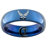 6mm Blue Dome Tungsten Carbide Air Force Logo Design Ring.