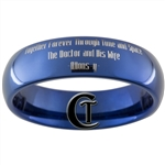 6mm Blue Dome Tungsten Carbide Doctor Who Quote Design Ring.