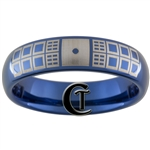 6mm Dome Blue Tungsten Carbide Doctor Who Tardis Design Ring.