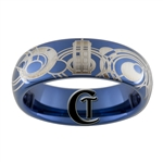 6mm Dome Blue Tungsten Carbide Doctor Who Tardis  & Gallifreyan Design Ring.
