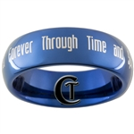 6mm Blue Dome Tungsten Carbide Doctor Who  Quote- Together Forever Through Time and Space Design Ring.