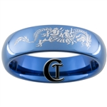 6mm Blue Dome Tungsten Carbide Asian Dragon Design Ring.