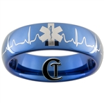 6mm Blue Dome Tungsten Carbide Medical Alert & EKG Design Ring.