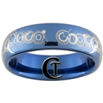 6mm Dome Blue Tungsten Carbide Doctor Who Gallifreyan- Together Forever Design Ring.