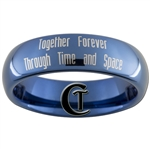 6mm Blue Dome Tungsten Carbide Doctor Who Gallifreyan Name of the Doctor and Quote Design Ring.