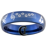 6mm Blue Dome Tungsten Carbide Legend of Zelda Prelude of Light Hyrule Crest Triforce Design Ring.