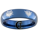 6mm Blue Dome Tungsten Carbide Monster Hunter & Witcher Wolf Design Ring.