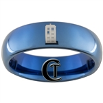 6mm Blue Dome Tungsten Carbide Doctor Who Tardis and Gallifreyan-The girl who waited Design Ring.