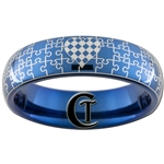 6mm Blue Dome Tungsten Carbide Puzzle Pieces Checkered Heart Design Ring.