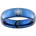 6mm Blue Dome Tungsten Carbide Battlestar Galactica Symbol Design Ring.