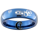 6mm Dome Blue Tungsten Carbide Doctor Who Gallifreyan- I Know Design Ring.