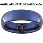6mm Blue Dome Tungsten Carbide Doctor Who Gallifreyan- Forever and Always & Script- Till Death Do Us Part Design Ring.