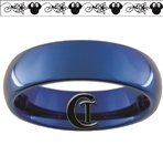 6mm Blue Dome Tungsten Carbide Minnie Mouse Floral Design Ring.