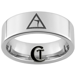 6mm Pipe Tungsten Carbide Masonic 14th Degree Yod Symbol Design Ring.