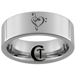 6mm Pipe Tungsten Carbide Heart Music Design Ring.