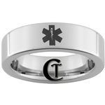 6mm Pipe Tungsten Carbide Medical Alert Star of Life Design Ring.