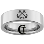 6mm Pipe Tungsten Carbide NAVY Anchor Ring Design.