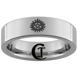 6mm Pipe Tungsten Carbide Supernatural Anti-Possession Symbol Design Ring.