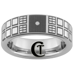 6mm Pipe Tungsten Carbide Doctor Who Tardis Design With Custom Saying On Back
