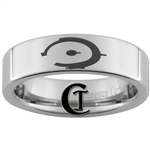 6mm Pipe Tungsten Carbide Halo Ring Logo Design