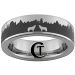 6mm Pipe Tungsten Carbide Outdoors Forest Wolves Design