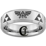 7mm Beveled Tungsten Carbide Zelda Skyward Sword Design