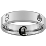 7mm Beveled Polished Tungsten Iron Man Designed Ring