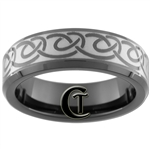 7mm Black Beveled Tungsten Carbide Celtic Design