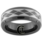 7mm Black Beveled Tungsten Carbide Laser Design