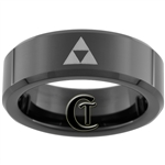 7mm Black Beveled Tungsten Carbide Zelda Design