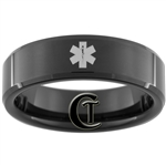 7mm Black Beveled Tungsten Carbide Medical Alert Design