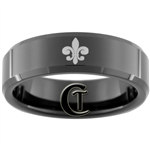 7mm Black Beveled Tungsten Carbide Fleur De Lis Design
