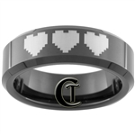 7mm Black Beveled Tungsten Carbide 8-Bit Hearts Design